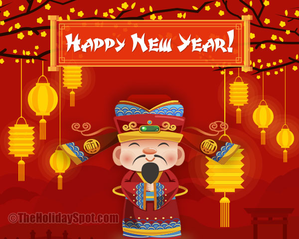 decorative happy chinese new year greeting card