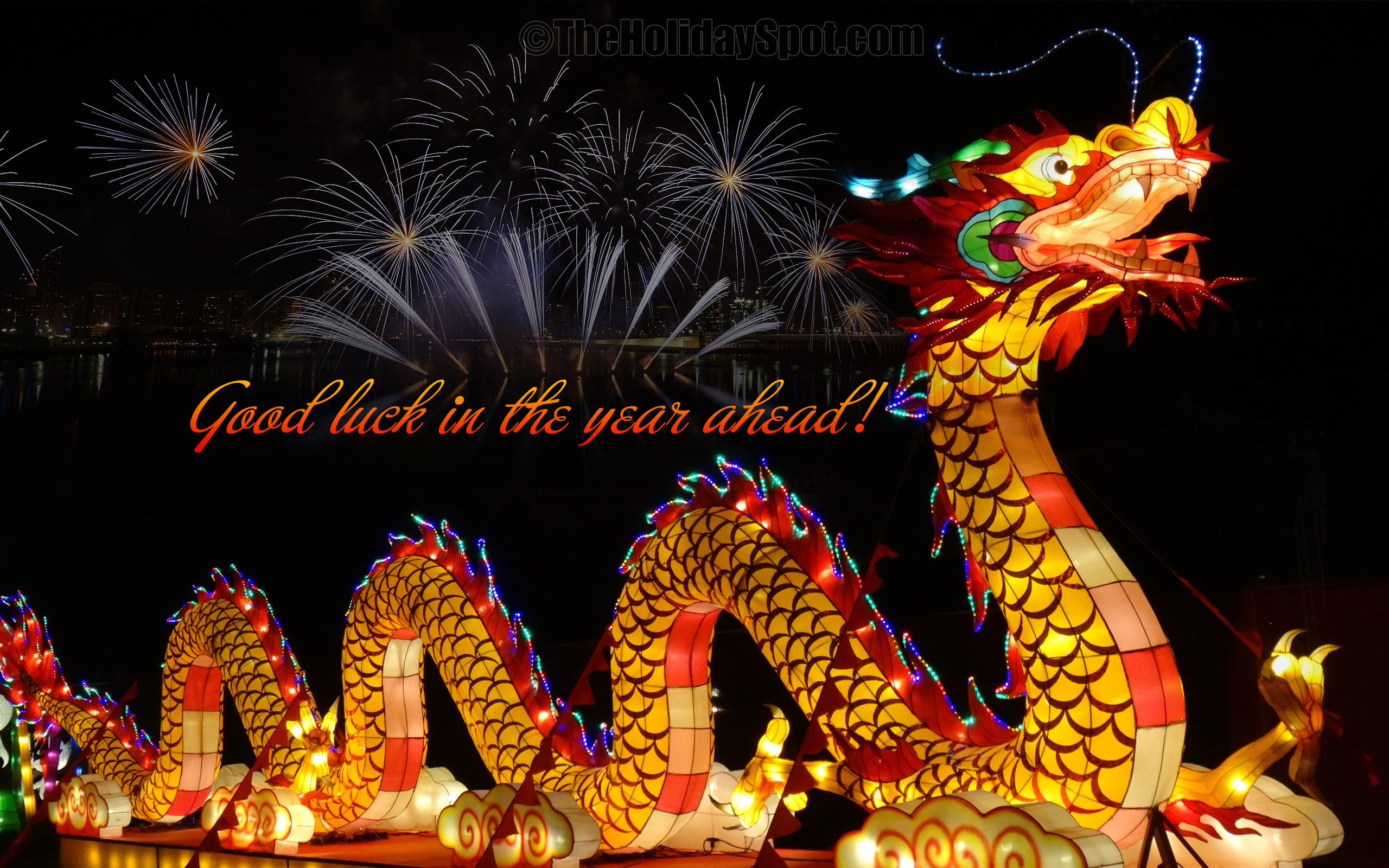 chinese new year wallpaper with fireworks and dragon