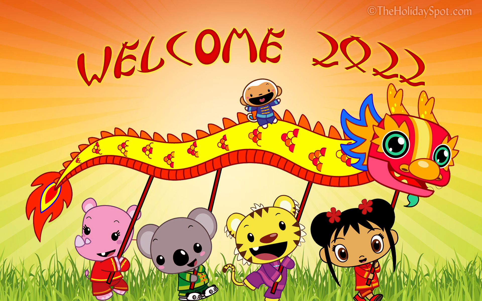 hd chinese new year wallpaper themed with kids holding dragon