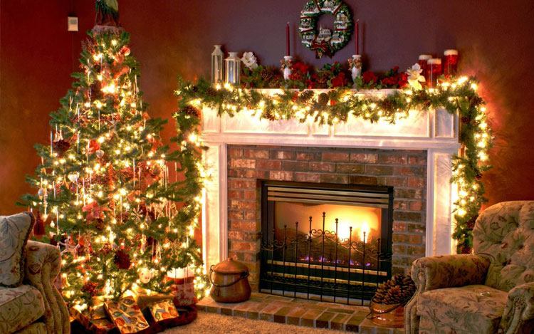 Decoration for Christmas. Chritmas Table Decoration. Chritmas Tree and Fireplace Decoration