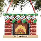 Fireplace Family© Personalized Ornament- 6 Name