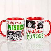 Candy Cane Wishes and Mistletoe Kisses Photo Christmas Mug