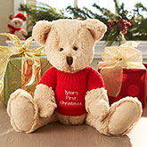 First Christmas Teddy Bear With Embroidered Sweater