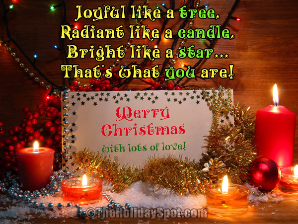merry christmas greetings card with lots of love