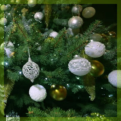shiny silver balls at christmas tree - Green And Silver Christmas Decorations