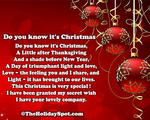 Do you know its Christmas - Christmas poem - Christmas Poems - 5