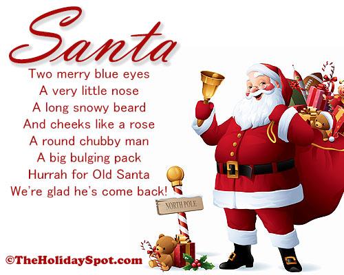 santa christmas poem - Merry Christmas From Heaven Poem