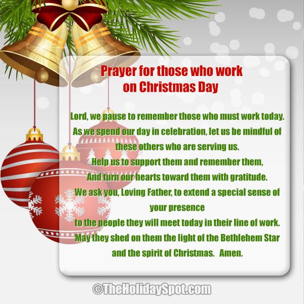 Christmas Prayer.Prayers For Those Who Work On Christmas Day