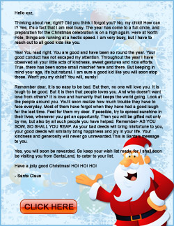 Santa Letter For You And Your Family
