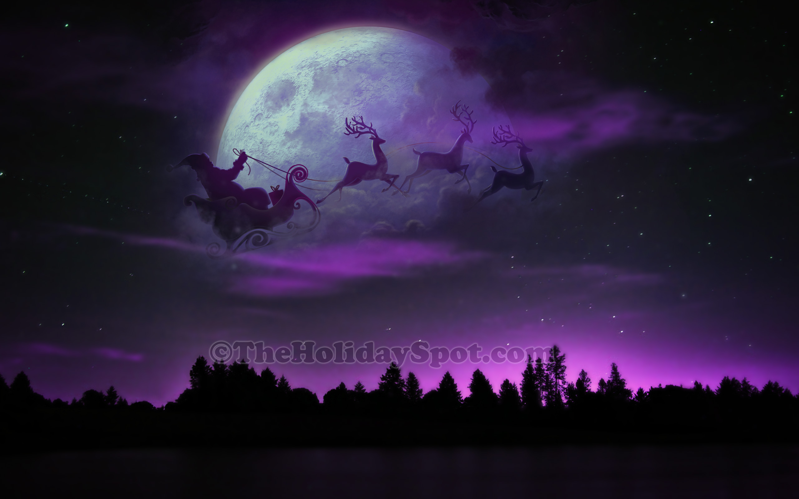 Free christmas wallpapers download hd wallpaper hd wallpaper santa sleigh and reindeer at christmas night voltagebd