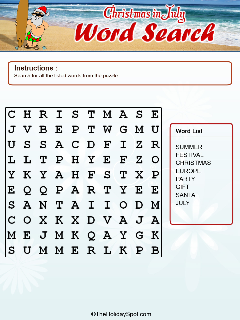 christmas in color word search template