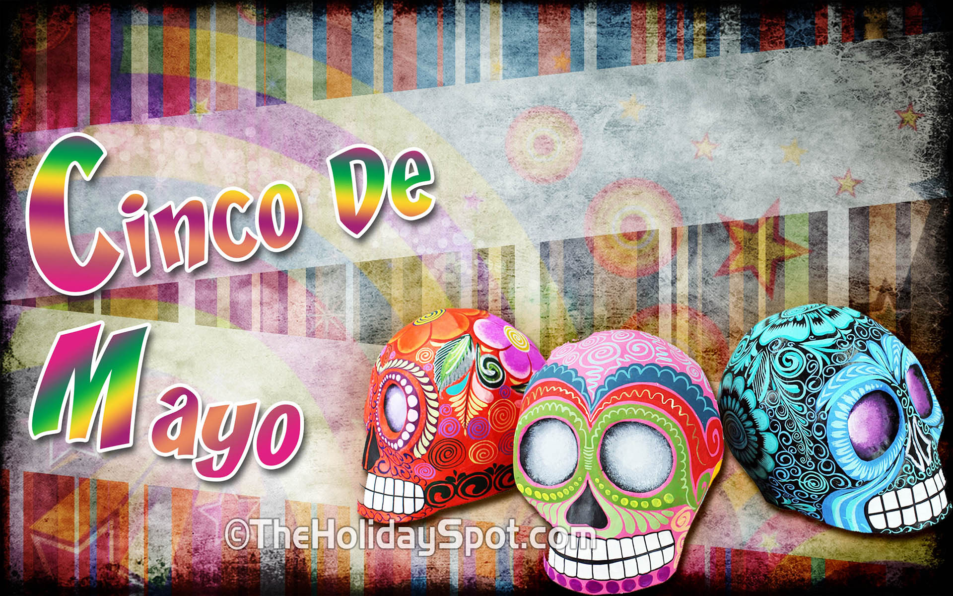 Colorful High Defination Wallpaper Showing Colored Mexican Skulls