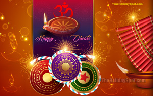 Diwali Wallpaper themed with Firecrackers and diya