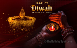 Diwali HD wallpaper themed with a diya in hand and an illustration of a golden diya