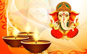 Diwali wallpaper themed with three diyas and Lord Ganesha gives blessings