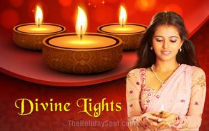 Diwali wallpaper themed with three diyas and a beautiful woman holding a gleaming diya