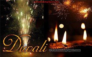 Diwali diyas and fireworks