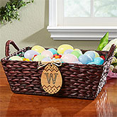 Easter Basket with Personalized Wood Egg