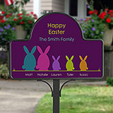 Easter Bunny Family Personalized Garden Stake