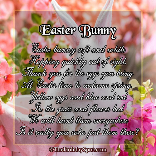 Poem card of Easter Bunny