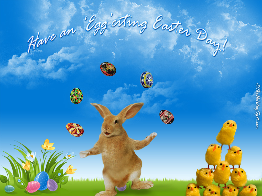 Chicks And Bunny Are Playing With Eggs In Easter Wallpaper