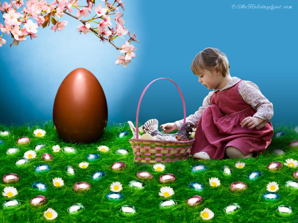 Easter Wallpaper Showing Cute Little Girl Hunting Egg