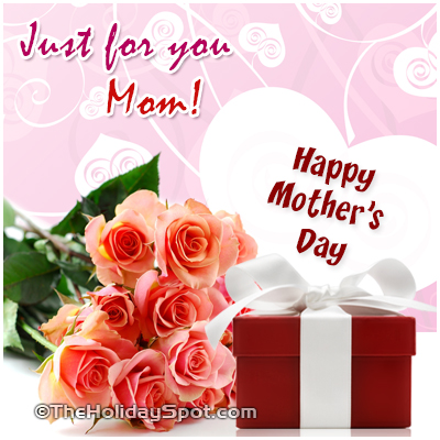 Mother's Day greeting card with flowers and gifts