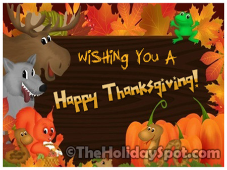 Thanksgiving greeting message thanksgiving cards saying happy happy thanksgiving wishes from various animals m4hsunfo