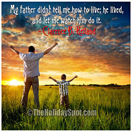 fathers day inspirational quote image showing father and son enjoying nature