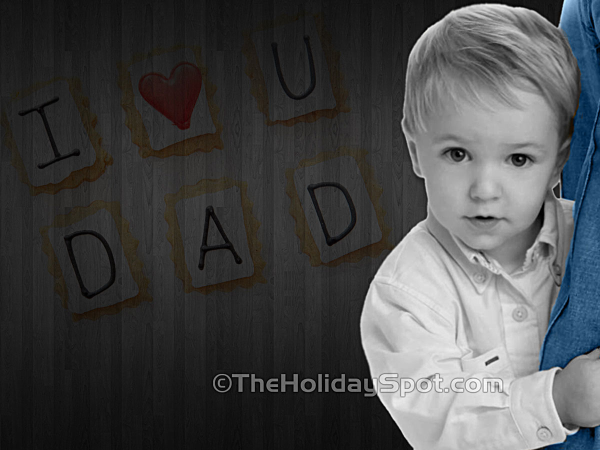 A wallpaper showing child love to his father on fathers day