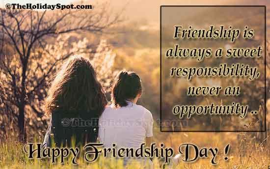 friendship always sweet responsibility - friendship day cards