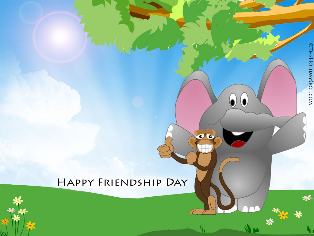 Two Animal Friends Wishing Happy Friendship Day