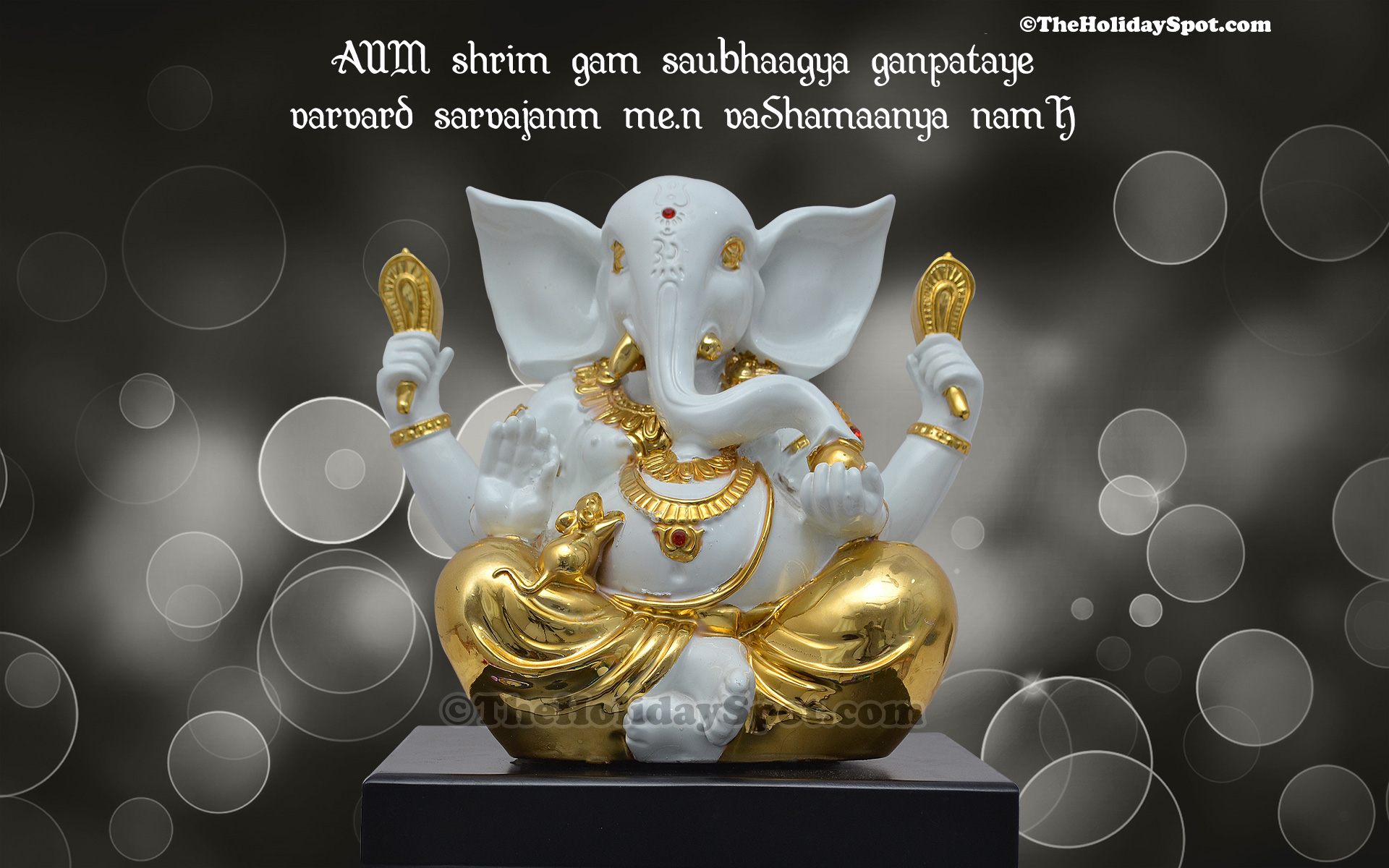 ganesh chaturthi wallpaper with mantra of lord ganesha