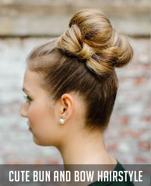 Magnificent Look Cute With A Bun And Bow Hairstyle Hairstyles For Men Maxibearus