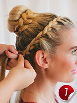 Double Braided Complex Bun Hairstyle For Special Occasions