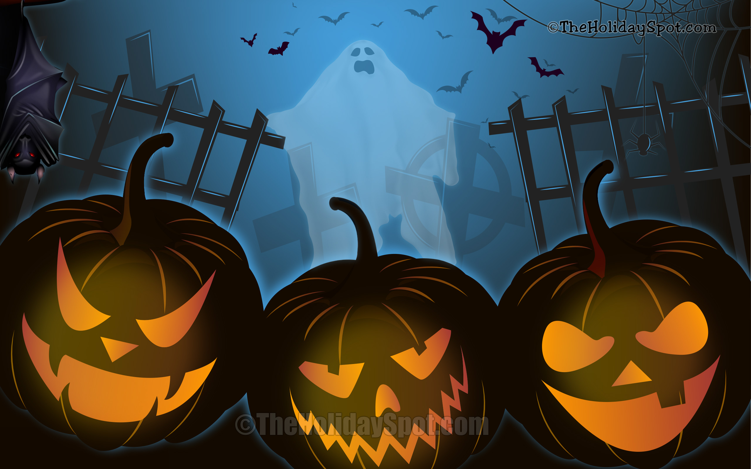 Wallpaper   Halloween Night With Bat, Pumpkins And Ghost