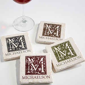 Floral Monogram Tumbled Stone Coaster Set