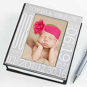 Baby Love Birth Information Engraved Photo Album