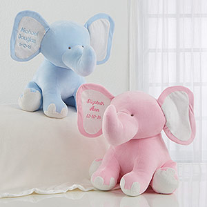 Embroidered Jumbo Plush Baby Elephant
