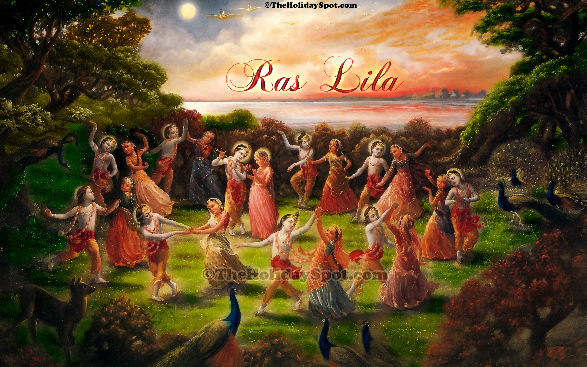 high difination janmashtami wallpapers featuring lord krishna performing raslila with gopiyas