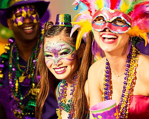 Famously held in New Orleans, Mardi Gras is a carnival period with flamboyant parades and activities that take place before somber Ash Wednesday. The literal translation of Mardi Gras from French to English is