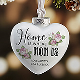Home Is Where Mom Is Personalized Deluxe Heart Ornament