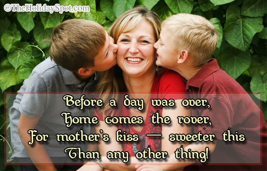 Mothers day quotes card - Mother's Kiss