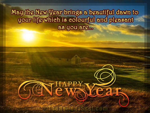 new year greetings with beautiful dawn