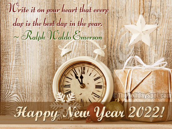 happy new year card with a quotation