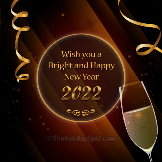 bright and happy new year wishes card for 2019