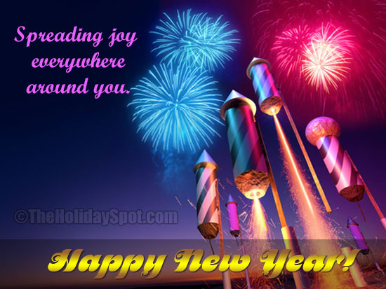 happy new year card with firecracker