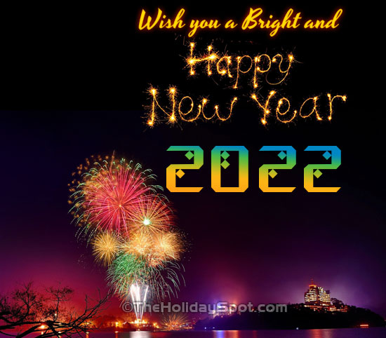 bright and happy new year wishes card