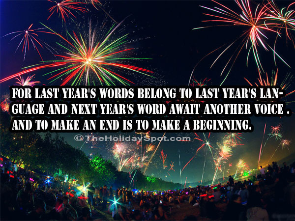 new year quotes to make an end is to make a beginning