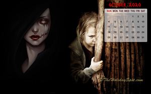 Halloween themed Calendar wallpaper for the month of October, 2020